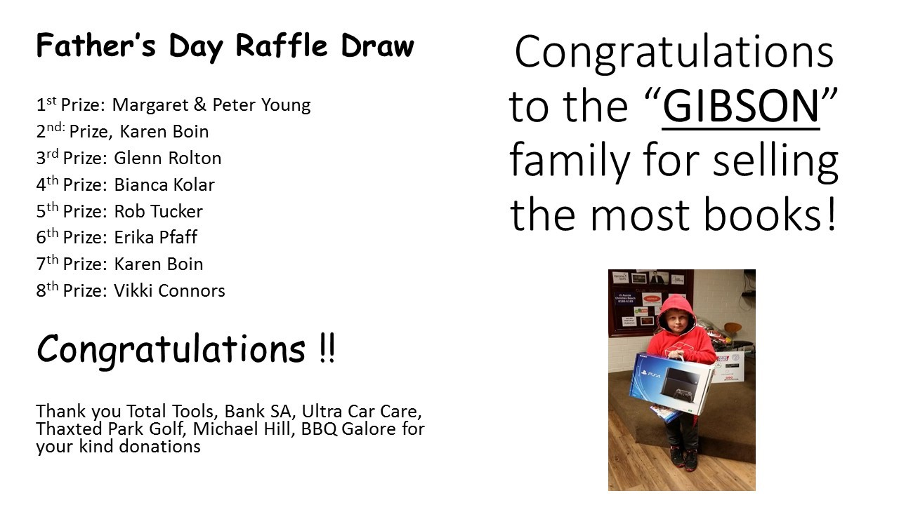 Fathers Day Raffle Results